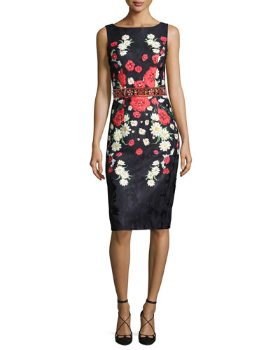 Sleeveless Beaded Floral Jacquard Cocktail Dress, Black/Multicolor