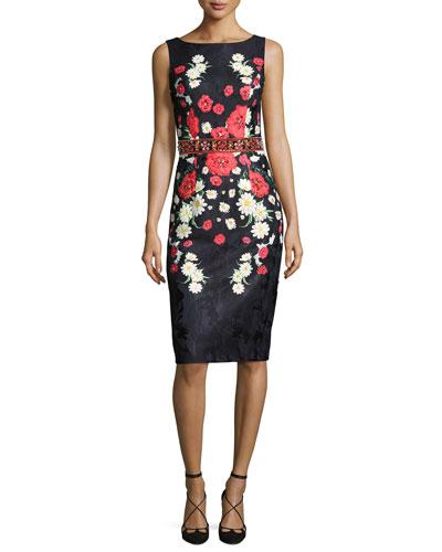 Sleeveless Beaded Floral Jacquard Cocktail Dress, Black/Multicolor
