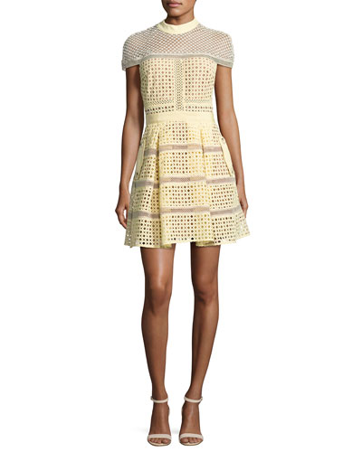 Crosshatch Paneled Mini Dress, Yellow
