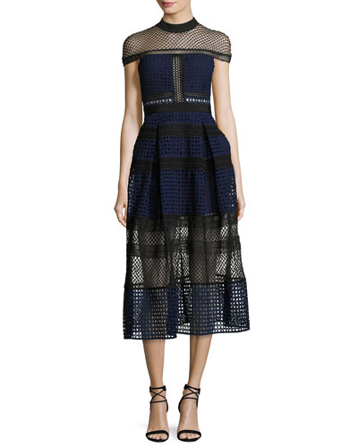 Crosshatched Raglan Paneled Midi Dress