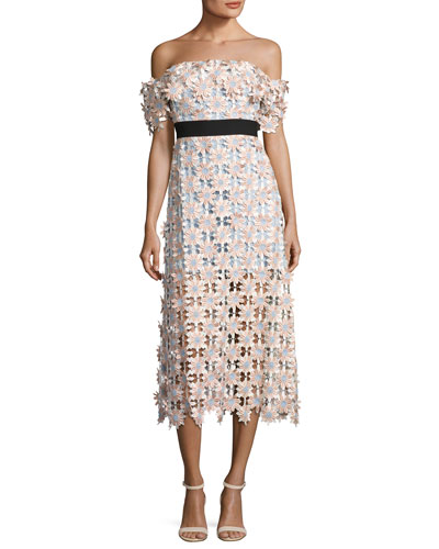Off-Shoulder 3-D Floral Midi Dress, Pink