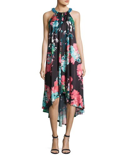 Sleeveless Floral-Print High-Low Cocktail Dress