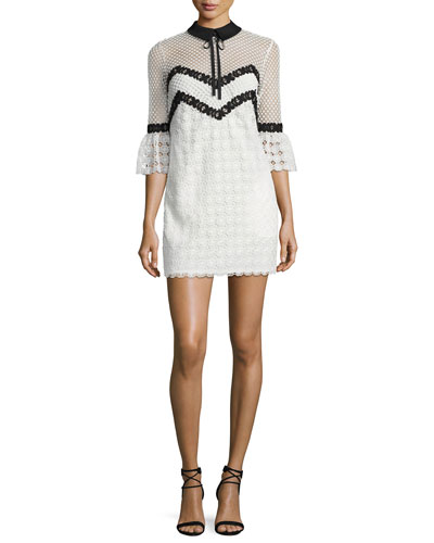 Petal Monochrome Mini Dress, Black/White