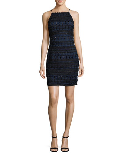 Sleeveless Geometric Beaded Cocktail Dress, Twilight