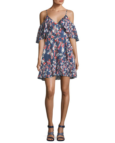 Amylia Floral-Ikat Silk Stripe Short Dress