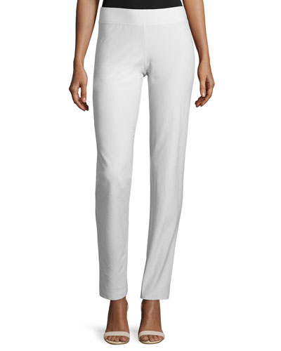Washable Stretch Crepe Slim-Leg Pants, Bone, Petite