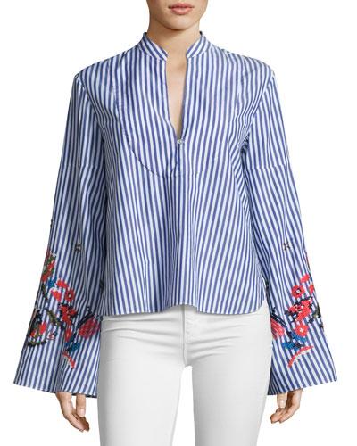 Klara Embroidered Menswear Stripe Top, Blue/White