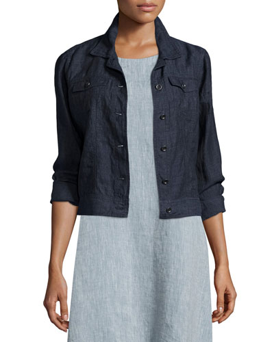 Organic Linen Jean Jacket, Denim, Plus Size