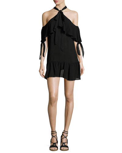 Halter-Neck Mini Coverup Dress, Black