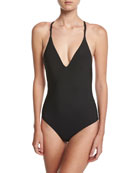 Woven Strappy Back One-Piece Maillot Swimsuit, Black
