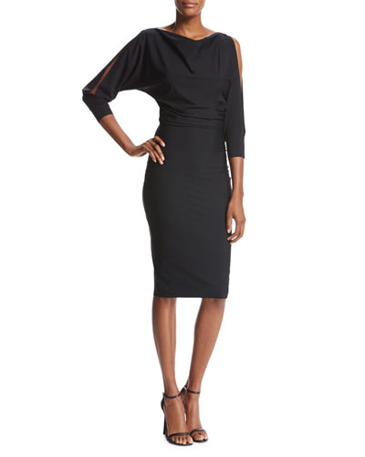 Miguelina Cold-Shoulder Blouson Cocktail Dress, Black