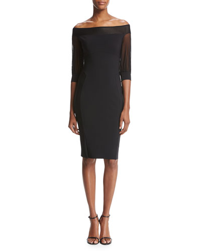 Gretel 3/4-Sleeve Jersey Cocktail Dress, Black