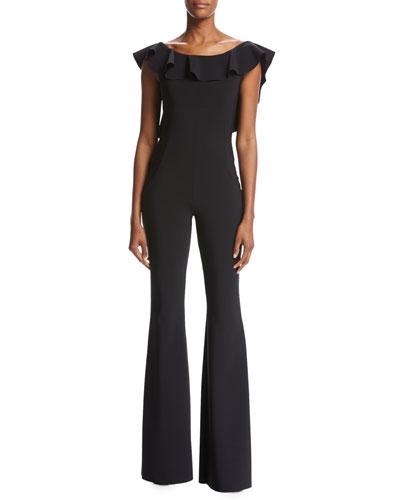 Mayana Ruffed Stretch Jersey Jumpsuit, Black