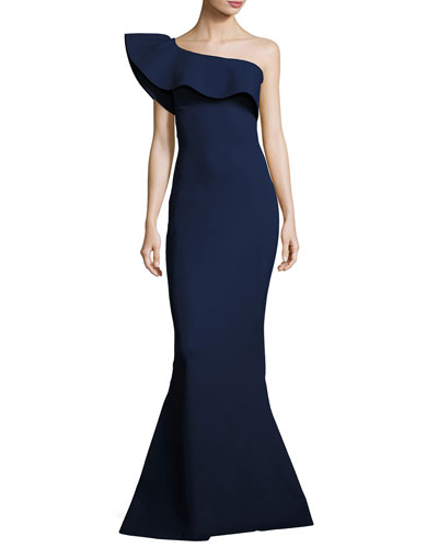 Elisse One-Shoulder Ruffle Mermaid Gown