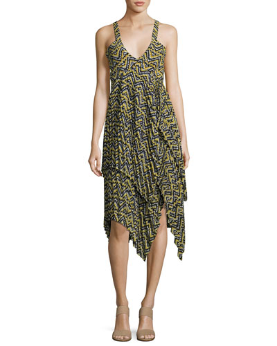 Kendall Sleeveless Printed Silk Dress, Yellow Pattern