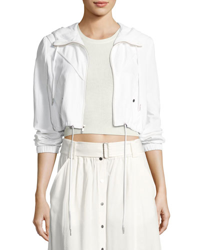 Broderick Cropped Hooded Jacket, White