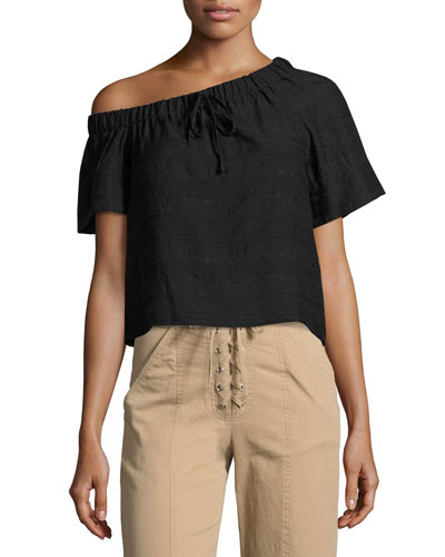 Ryland One-Shoulder Top, Black