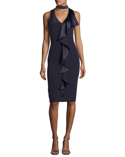 Sleeveless Stretch Silk Ruffle-Trim Cocktail Dress, Blueberry