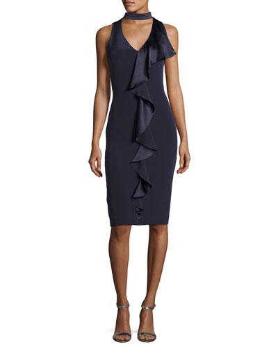 Sleeveless Stretch Silk Ruffle-Trim Cocktail Dress, Blueberry