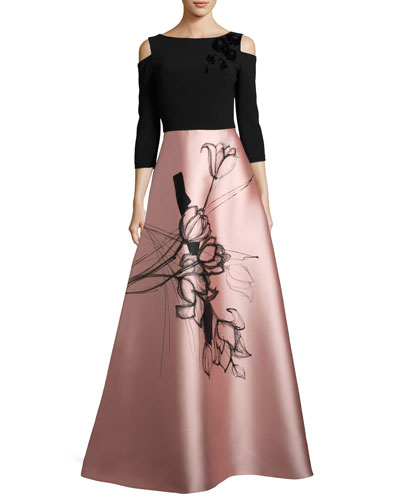 Floral Cold-Shoulder Crepe & Taffeta Evening Gown, Black/Blush