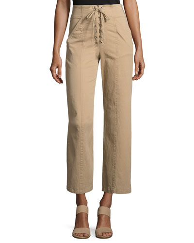 Kyt High-Waist Lace-Front Pants, Khaki