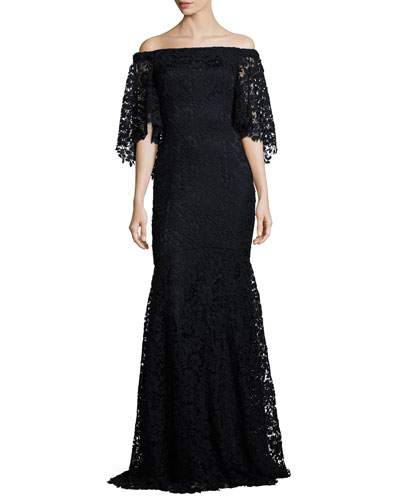 Off-the-Shoulder Floral Lace Mermaid Gown, Midnight