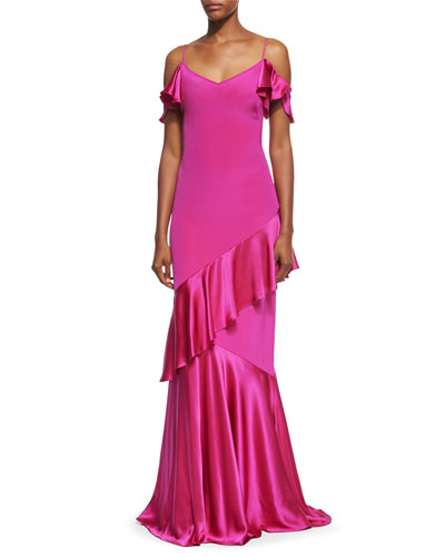 Cold-Shoulder Stretch Silk Evening Gown, Magenta