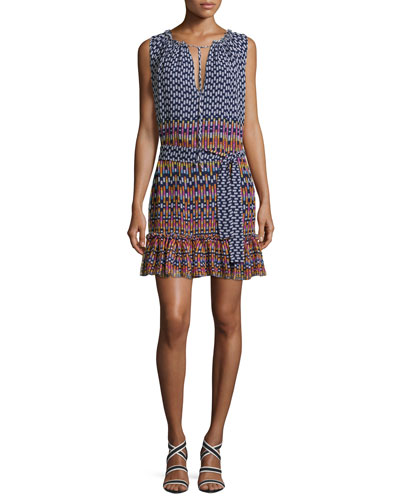 Carlisle Sleeveless Printed Silk Chiffon Flounce Dress, Blue/Multicolor