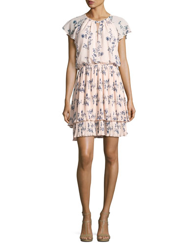 Ebony Floral Chiffon Blouson Dress, Pink