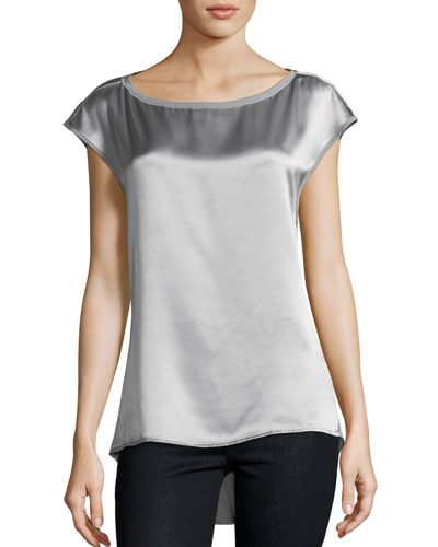 Cap-Sleeve Draped-Back Satin Top