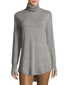 Long-Sleeve Cowl-Back Tunic Sweater