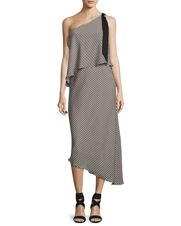 Striped One-Shoulder Asymmetric Cocktail Dress, Black/White