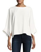High-Neck Kimono-Sleeve Top