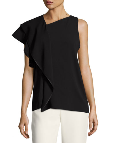 Sleeveless Asymmetric Ruffled Drape Top