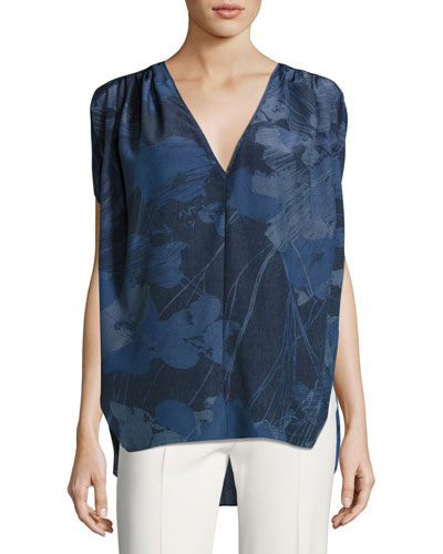 Cape-Sleeve Deep V-Neck Silk Top