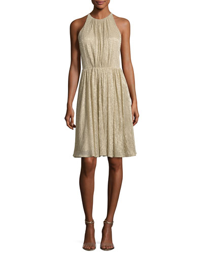Sleeveless Textured Metallic Cocktail Dress, Pale Gold