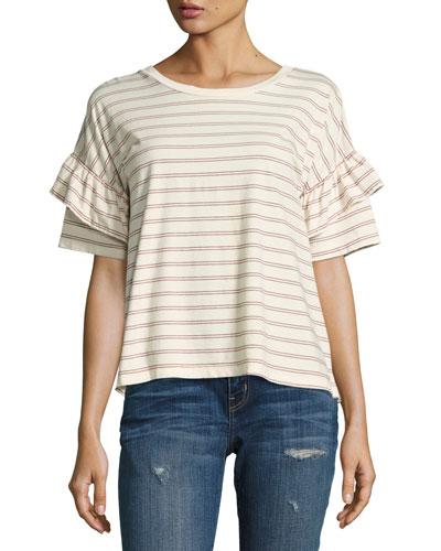 The Ruffle Roadie Striped Tee, White Pattern