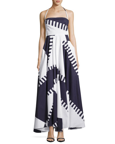 Sleeveless Spinnaker Apron Dress, Navy