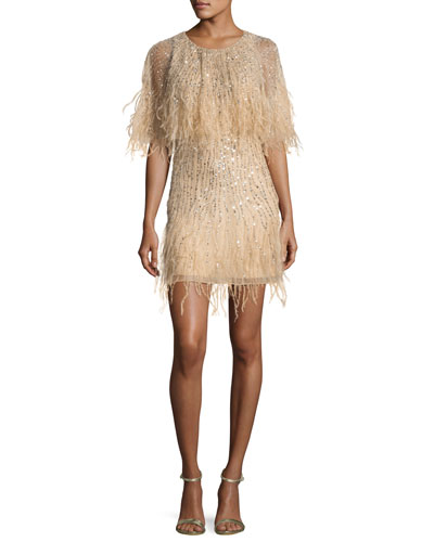 Kendra Embellished Feather Fringe Cape Cocktail Dress, Sand