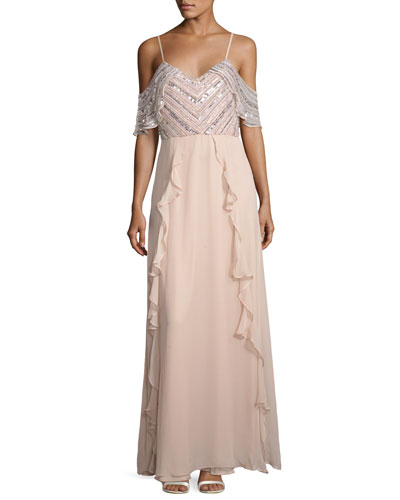 Irene Embellished Silk Chiffon Cold-Shoulder Gown, Blush