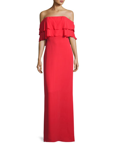 Helen Tiered Off-the-Shoulder Silk Gown, Coral