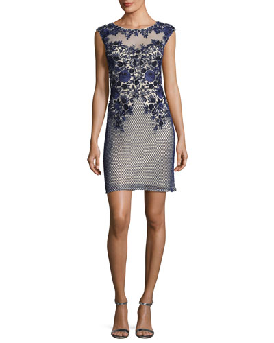 Montclair Cap-Sleeve Floral Mesh Cocktail Dress, Navy