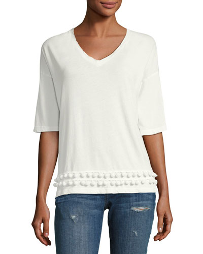 The Pompom Cotton Tee, White
