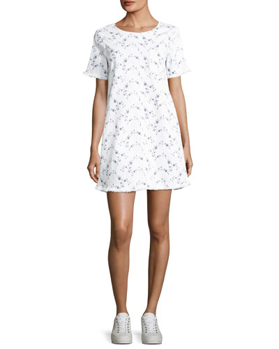 The Fray Edge Cotton Shift Dress, White