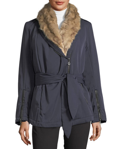 Faux-Fur-Trim Shawl Collar Coat
