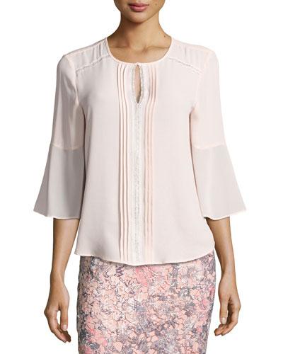 Miranda 3/4-Sleeve Blouse, Pink
