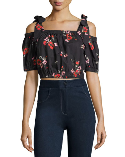 Margurite One-Shoulder Floral Poplin Crop Top, Black