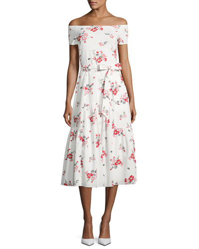 Margurite Off-the-Shoulder Floral Jersey Midi Dress, White