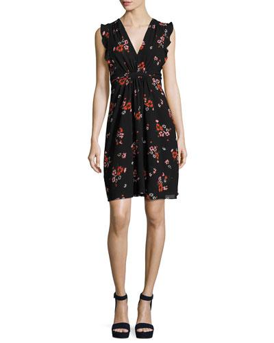 Marguerite Sleeveless Floral-Print Dress, Black