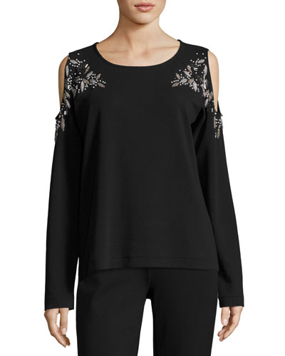 Beaded Open-Shoulder Cotton Top, Petite